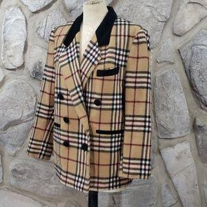 Vintage David Barry Tan Plaid Black Velvet Blazer